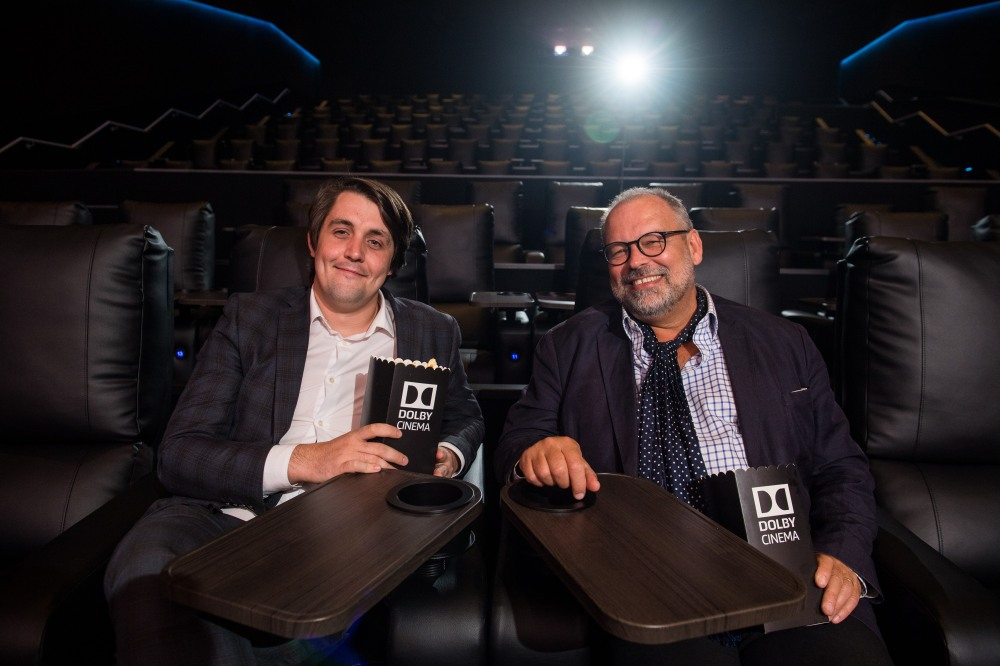 Julian Stanford, Senior Director, Dolby Cinema Europe (right), and Dan Formby, GM, ODEON Manchester Trafford Centre (left) take in the new Dolby Cinema screen in at ODEON Trafford Centre last night